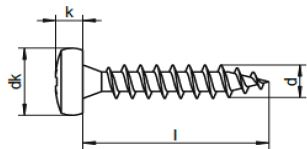 plan profil vis bois inox tete cylindrique